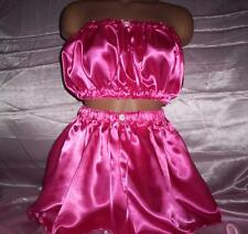 ADULT SISSY WOMENS MENS TV CD CUTE SEXY HOT PINK SATIN 2 PIECE MINI SKIRT SET