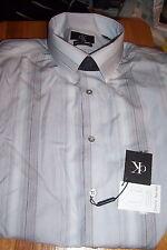 NWT CALVIN KLEIN MENS SLIM FIT DRESS SHIRT -GRAY STRIPES-16.5 32/33