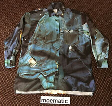 VTG 90s Moschino Jeans All Over Print Silk Denim Jean Jacket Shirt 80s Italy Usa