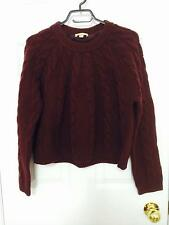 $595 NWOT BURBERRY BRIT CROPPED CABLE KNIT SWEATER MAHOGANY RED SIZE M!!! HOT!!