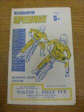 25/06/1971 Speedway Programme: Wolverhampton v Belle Vue (writing inside/results