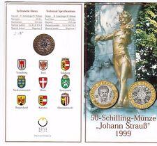AUSTRIA - RARE 50 SCHILLING BU COIN 1999 YEAR KM#3061 JOHANN STRAUSS MINT PACK