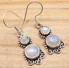 Real Blue Fire RAINBOW MOONSTONE PRETTY Earrings, Natural Gemstone Jewelry India