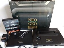 SNK NEO GEO ROM Console System AES,Fight Stick,PSU,AV cable,Boxed set tested-B1-