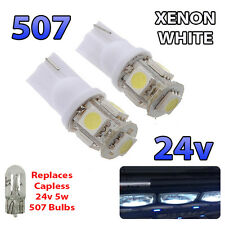 2 x White 24v Capless Marker Light 505 501 W3W 5 SMD T10 Wedge Bulbs HGV Truck