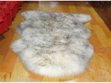 Genuine Australian Single One Pelt Sheepskin White With Gray Tip 2x3 SOFT Rug