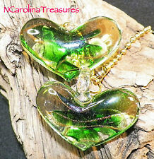 VINTAGE HEART GREEN GOLD MURANO GLASS CEILING FAN LIGHT SWITCH PULL LG PAIR H422