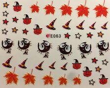 Nail Art 3D Decal Stickers Halloween Pumpkin Witch Hat Black Cat Leaves E063