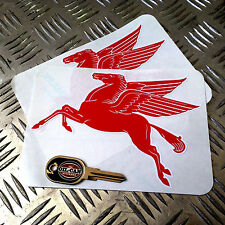pair of die cut Mobil Pegasus decals 175mm x 125mm hotrod vw car stickers
