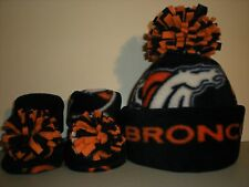 BRONCOS HANDMADE newborn BABY HAT BEANIE & BOOTIES 3 PIECE FLEECE SET NFL DENVER