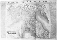 Vecchia Antica Mappa Nord Italia Torino vista C1859 Corsica seggio di guerra