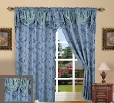 """Window Curtain Drape Set Blackout Floral Walleye 55""""x84"""" Panel With 18"""" Valance"""