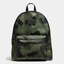 Coach Campus Backpack in Pebble Leather Wild Beast Baseman 72063 $550 Green Camo