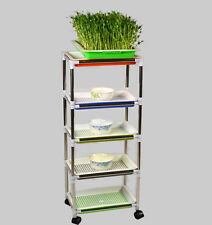 Soil-Free Wheatgrass Grower Sprouter 5 Layers Unit With Detachable Wheels
