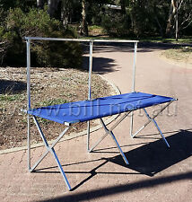 Folding table with back rail and carry bag great for market stalls and campng