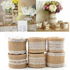 Lace Hessian Burlap Ribbon Roll Edged Trims Tape For Wedding Party Gift Decor