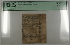 1779 $50 South Carolina Colonial Currency Note Sc-154 Pcgs Vf-20 Apparent