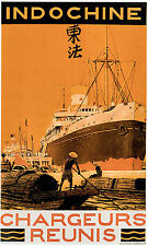 Vintage 1920s Indochine China Ocean Liner Poster Travel art Re-Print A4