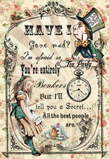 """Framed Print – Alice in Wonderland """"HAVE I GONE MAD"""" (Picture Looking Glass Art)"""