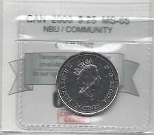 **2000 Community**Coin Mart Graded Canadian, $.25 Cent, **MS-65 NBU**