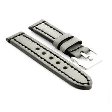StrapsCo Vintage Thick Watch Band Strap in Gray w/ Heavy Duty Contrast Stitching