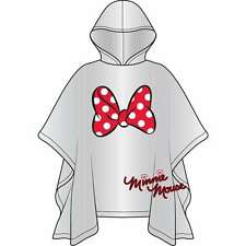DISNEY Minnie Mouse Red Bow Clear Hooded Rain Poncho - ADULT