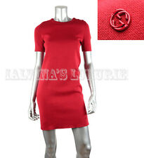 GUCCI DRESS SHORT SLEEVE RED COTTON INTERLOCKING GG LOGO DETAIL S SMALL