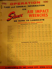 Sioux Air Impact Wrenches Information and Care Sheet 1964