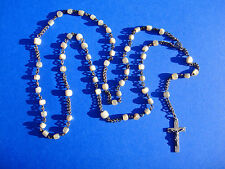 Original antique Vatican Rosary 1800s silver mother of pearl with elegant box