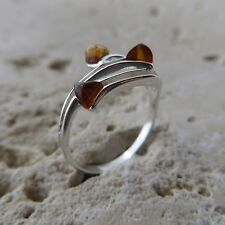 Size 5 3/4, Size L, Size 51, Cognac, BALTIC AMBER Ring in STERLING SILVER #1607