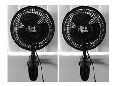 "2 Pack BAY HYDRO 6"" Black Clip Fan, 2 Speeds, Quiet, HIGHEST QUALITY $$ SAVE $$"