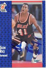 Signed 1991-92 Fleer Basketball Glen Rice Miami Heat Card #111 w/COA