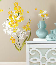 YELLOW ORCHID FLOWER ARRANGEMENT wall stickers 29 decals petals room decor