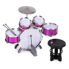 Children Kids Drum Set 5 Drums with Small Cymbal Stool Drum Sticks Pink P6X8