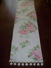 Shabby Pink with Green Rose Table Runner and Pom PomTrim
