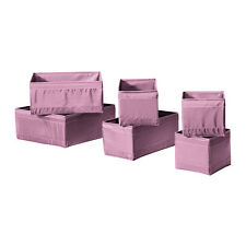 Ikea Skubb set of 6 PINK/ PURPLE drawer organiser storage boxes wardrobe