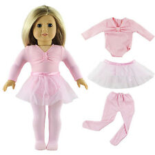 "Doll Clothes Ballet Dress Fit for 18"" American Girl Dolls Pink Set / 3pcs"