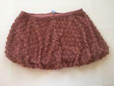 TARA JARMON Oxford Rose Color Mesh Rosette Texture Bubble Mini skirt Size XL New