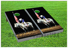 CORNHOLE BEANBAG TOSS GAME American Cowboy Red Blue w Bags Game Boards Set 1059