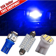 """11Blue LED Lights Interior package kit T10 & 1.72"""" Dome Map + License Plate Lamp"""