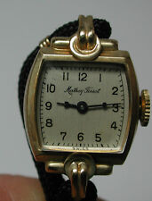 New Antique MATHEY TISSOT Ladies Womans 17j 14k Yellow Gold GF Wrist Watch w Box