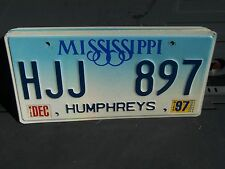 HJJ 897 = 1997 Humphreys County Mississippi License plate    I Combine Shipping