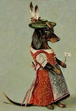 DOGS, FEMALE DACHSHUND IN ALPINE COSTUME, HOLDING AN EDELWEISS, MAGNET