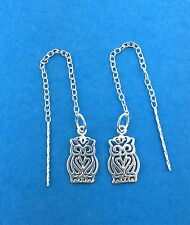 925 Sterling Silver Open Owl 13mm pull Through Threader Earrings /  Dangle