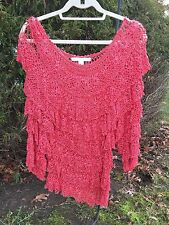 Boston Proper Coral Crochet Salsa Sweater Women's Size M/L New