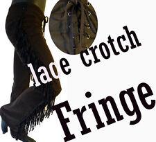 RAMPAGE fringe cowboy jean pant lace crotch faux suede leather vegan low rise 7