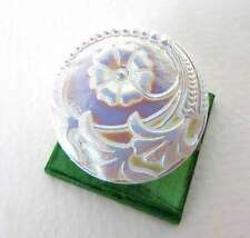 Vintage Czech Button Flower White AB Aurora Borealis Glass Shank 27mm