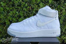 NIKE WOMENS AIR FORCE 1 FLYKNIT MID SZ 8.5 WHITE OUT PURE PLATINUM 818018 100