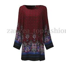 ZANZEA Women Long Sleeve Floral Print Plus Boho Ethnic Plus Short MiniDress