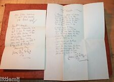 HANDWRITTEN IRISH POET JAMES STEPHENS POEM & LETTER 1925 THE RIVALS